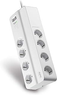 APC Surge Protector - PM8-GR - Steckdosenleiste mit Überspannungsschutz 8-fach Stecker Schuko, schaltbar, für PC, TV u.a., Farbe: weiß