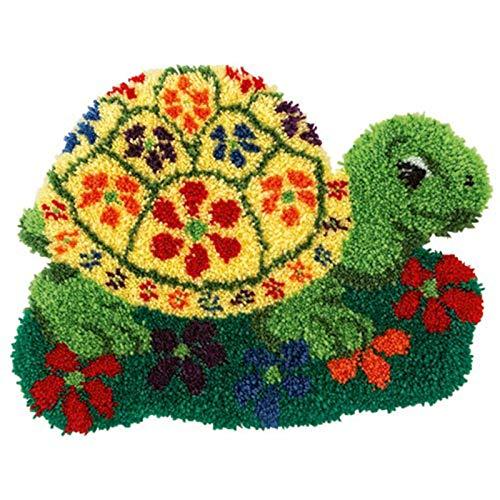 XUJINGJIE Alfombra de punto para hacer tú mismo, alfombra para hacer manualidades, con bordado inacabado, artesanía con patrón de lienzo impreso, para decoración del hogar, tortuga