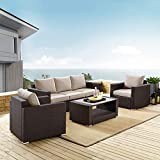Pulaski Modern Weave Set Outdoor Furniture, Rustic Brown/Beige