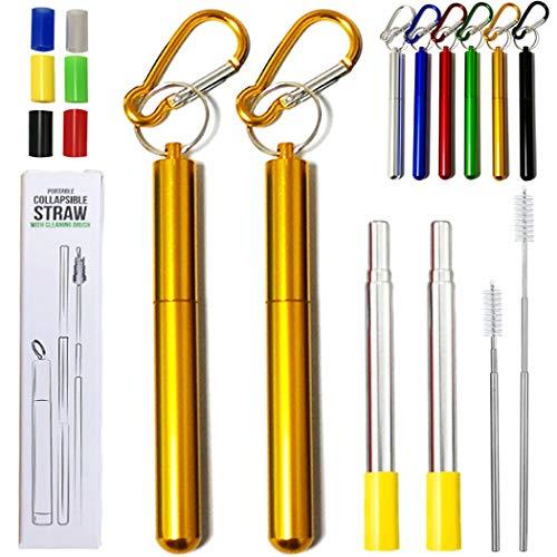 Hoshen 2 pajitas plegables reutilizables de metal, pajitas telescópicas portátiles, incluyendo cepillos y cabezas de silicona (con concha), color amarillo