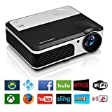 EUG Wireless Home Cinema LED LCD Video Projector, HD 1080P 720P HDMI WiFi droid Miracast iOS Airplay...