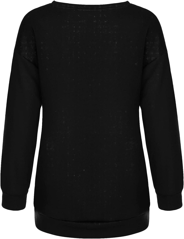 Halloween Shirts for Women,Womens Halloween Cute Printed Fashion Pullover O Neck Long Sleeved Sweatshirts Dressy Tops