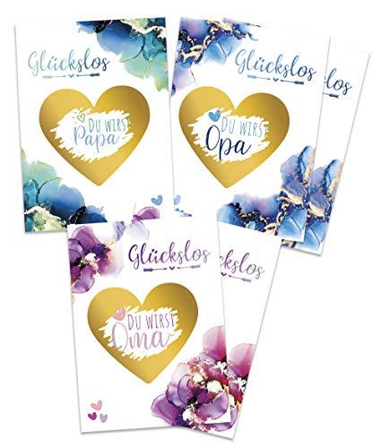 JoliCoon® Rubbelkarten - Verkünde deine Schwangerschaft mit tollen Karten zum Freirubbeln - Du wirst Papa Oma Opa Überraschung - Glückslos - Grußkarte Schwanger Baby Großeltern Eltern Babyparty