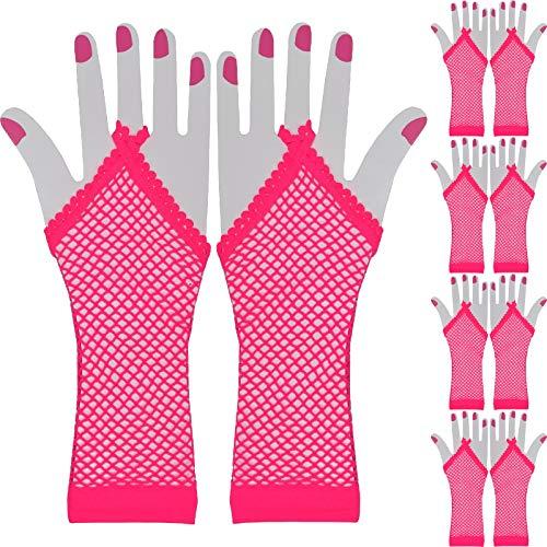 AM Netz Handschuhe Stulpen Fasching Karneval Party Kostümzubehör Erotik Sexy (5 Paar Pink)