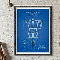 """コーヒーポット特許ポスターと版画ポスターコーヒー青写真アート画像キャンバス絵画キッチン壁アート装飾70x90cm(28""""x35"""")フレームなし"""