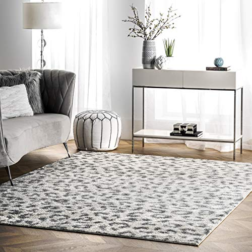 "nuLOOM Print Leopard Area Rug, 5' x 7' 5"", Gray"