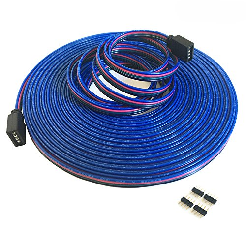 20m/65.6ft RGB Extension? Cable Line with Full Copper Wires Inside for LED Strip RGB 5050 3528 Cord 4 pin ?RGB Wire?RGB Extension Cable?led Extension Cable