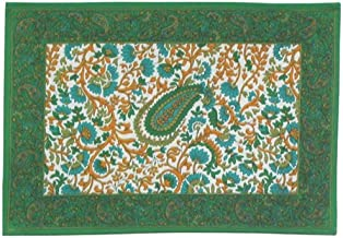 100% Cotton Screen Print Green & Blue 13x19 Placemats, Set of 6 - Topiary