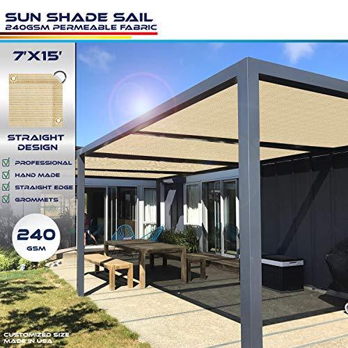 Windscreen4less Straight Edge Sun Shade Sail,Rectangle Heavy Duty 240GSM Outdoor Shade Cloth Pergola Cover UV Block Fabric - Custom Size Sand 7' X 15'