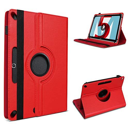 UC-Express Schutzhülle kompatibel für Huawei MediaPad M5 Lite Tablet Kunstleder mit Standfunktion 360° Drehbar Hülle Schutztasche Ständer Tasche 10.1 Zoll Cover Hülle, Farbe:Rot