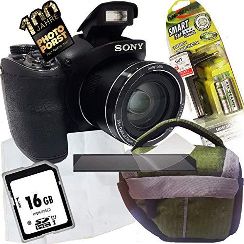 1A PHOTO PORST jubileum aanbieding Sony Cyber-shot DSC-H300 digitale camera + SD 16 GB geheugenkaart + tas + display beschermfolie + accu + oplader + microvezeldoek