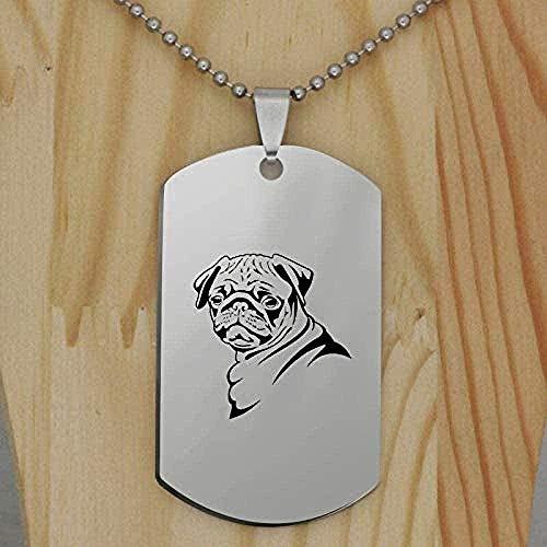 Yiffshunl Collar de Moda Precioso Patrón de Perro Colgante Collar Collar Grabado de Acero Inoxidable Único
