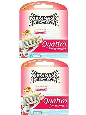 2 x Wilkinson Sword Quattro for Women Razor Blades - 2 Pack of 6 Blades