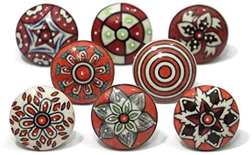 8 pomelli in ceramica dipinta a mano per armadietti e cassetti, stile vintage, con fiori in ceramica, per maniglie e cassetti, colore: rosso