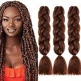 Cybelleza 3 piezas / 300 g Extensiones de cabello trenzado de 24 '' Jumbo Braids Sintético Kanekalon Crochet Hair Afro Box Trenza resistente al calor (Castaño oscuro)