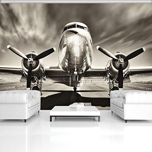 Mural 11728_P-MS Fotobehang, muurschildering wereld-derdromen | vliegtuig, hemel wolken, fotobehang P4 (254cm. x 184cm.) beige