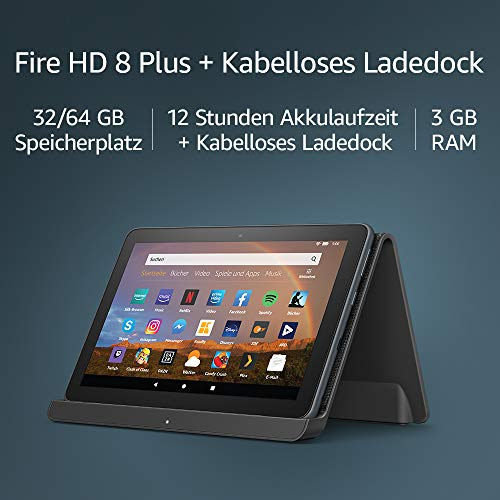 """Das neue Fire HD 8 Plus-Tablet, HD-Display, 32 GB, mit Spezialangeboten, unser bestes 8-Zoll-Tablet für Unterhaltung unterwegs + Kabelloses Ladedock von Angreat, """"Made for Amazon"""""""