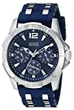 GUESS Iconic Blue Stainless Steel Stain Resistant Silicone Watch with Day, Date + 24 Hour Military/Int'l Time. Color: Blue (Model: U0366G2)