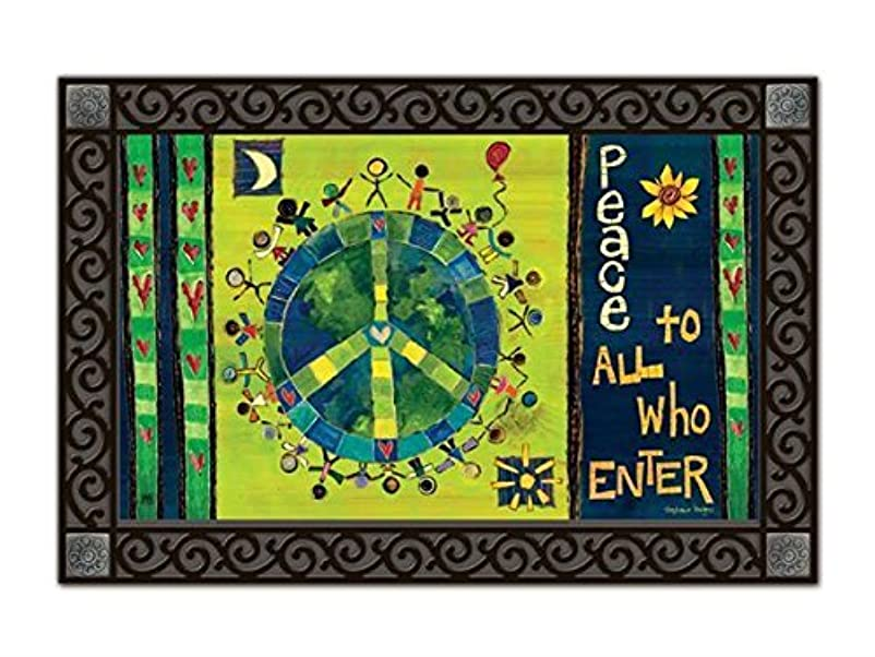 寄稿者征服知的Enter In Peace MatMates Doormat [並行輸入品]