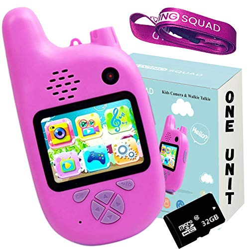 Kids Digital Camera with Walkie Talkies Function- ONE Pink Extra Unit - Rechargeable Battery and 32 GB Micro SD - Kids Camping Toys for Outdoor Radio - with MP3 Player, Video Recorder, Games