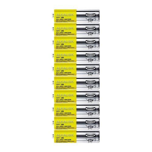 IKEA ALKALISK LR6AA 1,5V Alkaline Batterien (10Stück), LR6 AA 1.5V