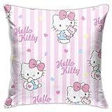 ChenZhuang Hello Kitty - Fundas de almohada decorativas de algodón para salón, sofá, cama, 45 x 45 cm