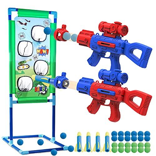 SLDALES 2PCS Spielzeug Pistolen Kinder Geschenke, Mit 24 Schaumbälle,4 Schaumstoffpfeilen und Schießen Zielscheibe Spielzeug Blaster Pistolen, 5 6 7 8 9 10+ Jahre Jungen Mädchen