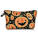Waterproof Small Travel Halloween Pumpkin Makeup Organizer Bag Cute Cosmetic Case Portable Zipper Toiletry Pouch Storage Bag for Purse for Girls Womens
