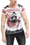 trueprodigy Casual Hombre Marca Camiseta con impresión Estampada Ropa Retro Vintage Rock Vestir Moda Cuello Redondo Manga Corta Slim fit Designer Fashion t-Shirt, Colores:Red, Tamaño:M