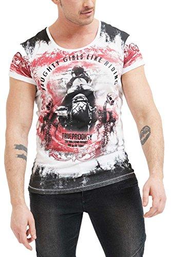 trueprodigy Casual Herren Marken T-Shirt Aufdruck Oberteil Cool Stylisch Rundhals Kurzarm Slim Fit Shirt Männer Bedruckt, Farben:Rot, Größe:XXL