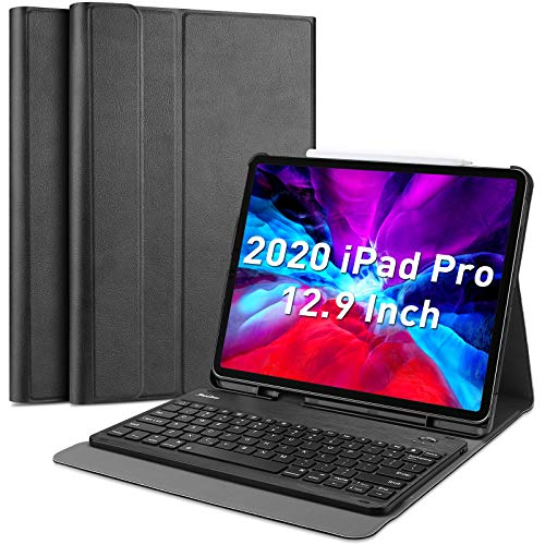 ProCase iPad Pro 129 2020 amp 2018 Keyboard Case with Pencil Holder Slim Lightweight Smart Cover with Detachable Wireless Keyboard for iPad Pro 129 inch 4th Gen 2020 / 3rd Gen 2018 Black