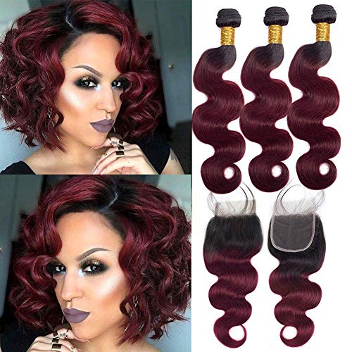 """Ombre Bundles With Closure Burgundy Bundles and Lace Closure for Women Body Wavy Free Part 4x4 Closure with Brazilian Virgin Human Hair Weave Extensions New Year Sales (T1B/99J,10""""12""""12""""+10""""Closure)"""