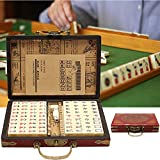 Mahjong Set With Carrying Travel Case And Manual In English, Chinese Mah Jongg Set With Archaistic Leather Box, 144 Tiles Portable Mahjong Games Free For Home Party Game Pleasure Time