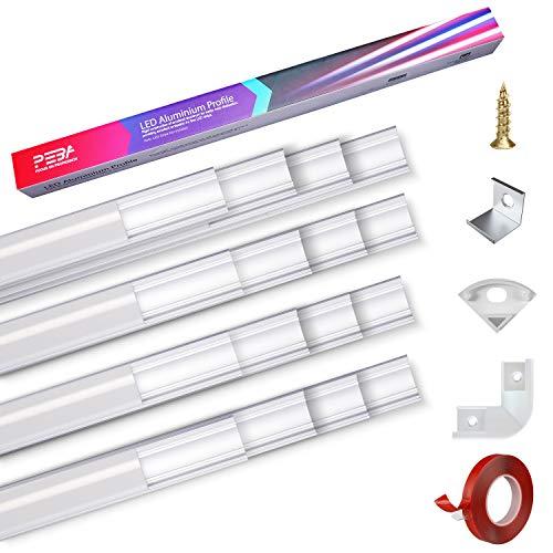 Led profil aluminium profile 16X1m Aluprofil leiste alu lichtleiste v Typ 45° milchig leisten Aluminiumkanäle für streifen strip 1-12mm mit 3M Klebstoff Metall Befestigungs Clips 90° Eckverbinder PEBA