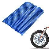 PSLER® 72 Pezzi Copri Raggi Copriruota Pelli Coperchio Avvolgente Decorazione Protezione Tubo Moto Motocross Pit Dirt Bike Bici Mtb(Blu)