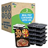 25 Sets [30oz 3 Compartment]. Prep Containers with Lids.Ideal-Lunch Containers, Food Prep Containers, Food Storage Bento Box, Portion Control   Stackable   Microwave   Dishwasher   Freezer Safe