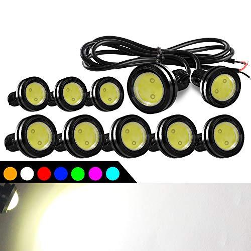 10pcs Alta Potencia 9W 23mm Eagle Eye Luz LED Luz de Niebla Luces de Motocicleta Luces de circulación Diurna Luz de reserva de Cola de DRL Luz de Marcador de Separación del Automóvil (Blanco)
