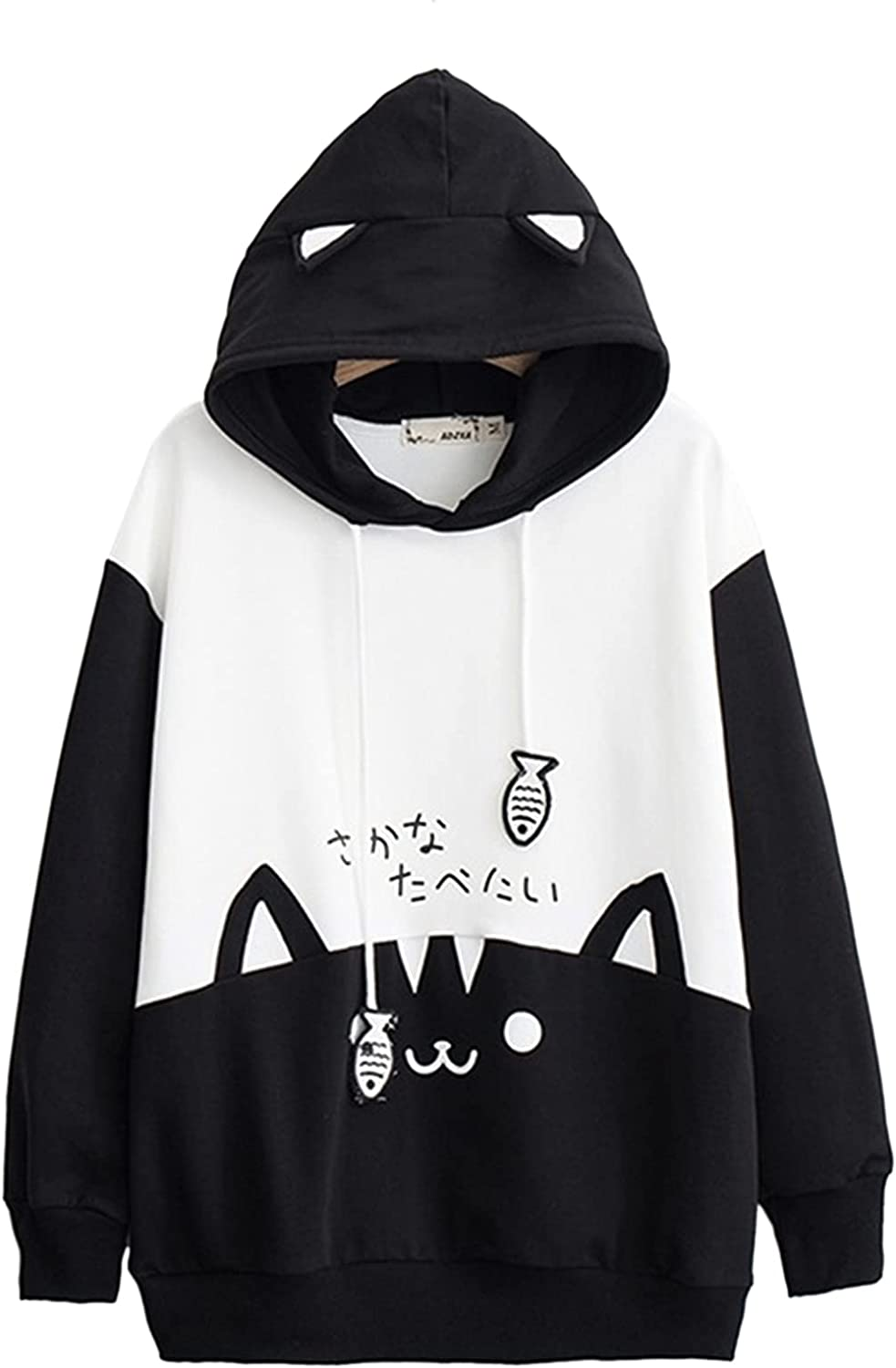 Women Casual Long Sleeve Loose Sweatshirt Fashion Letter Print Hoodies Pullover with Pocket