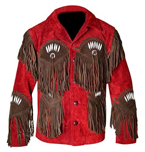 REDWOLF Western Cowboy Style - Chaqueta de Piel de Ante con Flecos para Hombre D12 XXS-5XL Rojo Rosso XX-Small