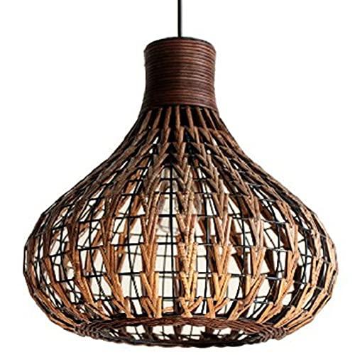 HUEERY Lámpara de bambú Natural DIY Lámpara de ratán Lámpara de Color marrón Tejido a Mano para Sala de Estar Dormitorio de pasillos de Cocina