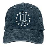 Photo de Générique Casquette de Baseball Ajustable à Six Panneaux Unisexe pour Hommes et Femmes unisemblées avec Trois Symboles Percenter 1776 par