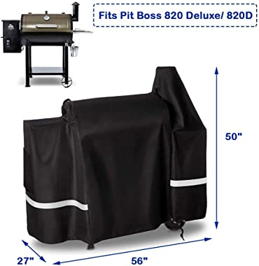 Uniflasy Grill Cover for Pit Boss 820 Deluxe, 820D, 820PB, 820FB Wood Pellet Grills with Side Tray, Waterproof, UV Resistance, All Weather Protection, Premium Heavy Duty BBQ Barbecue Grill Cover