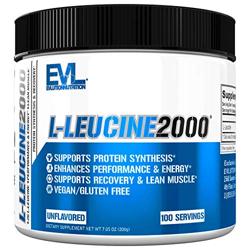 Evlution Nutrition L-Leucine2000, 2000mg of Pure L-Leucine in Each Serving, Protein Synthesis & Recovery, Vegan, Gluten-Free, Unflavored Powder (100 Servings)