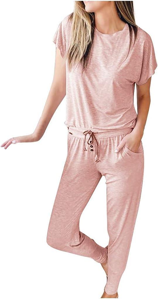 Hessimy Pajamas for Women,Womens Long Sleeve Tops and Pants Long Pajamas Set Joggers PJ Sets Nightwear Loungewear Sweatsuit