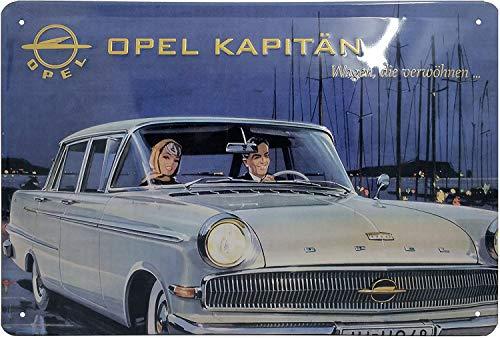 OPEL KAPITÄN Oldtimer, Retro Blechschild, Türschild, Wandschild, Werbeschild, hochwertig geprägt, 30 x 20 cm