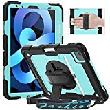 Timecity iPad Air 4 Case 10.9 Inch 2020 iPad Air 4th Generation Cases A2316 A2324 A2325 A2072, with Screen Protector/Swivel Kickstand/Hand Strap/Pencil Holder Cover for iPad Air 4th Gen, Light Blue