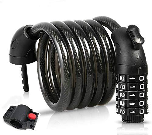 BIGLUFU Bike Cable Lock Cerraduras para Scooter de Bicicleta Cadena Extra Larga de 4 pies / 120 cm con combinación de 5 dígitos, Cables de Servicio Pesado de 0,5'/ 12 mm de diámetro Trenzado de Acero