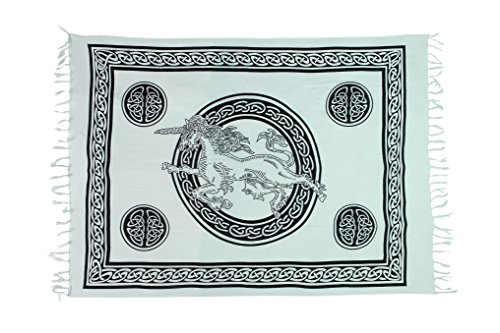 Sarong Pareo Wickelrock Strandtuch Handtuch Lunghi Dhoti Wandbehang Tribal Keltisch Einhorn Celtic Mädchen Emo Weiß