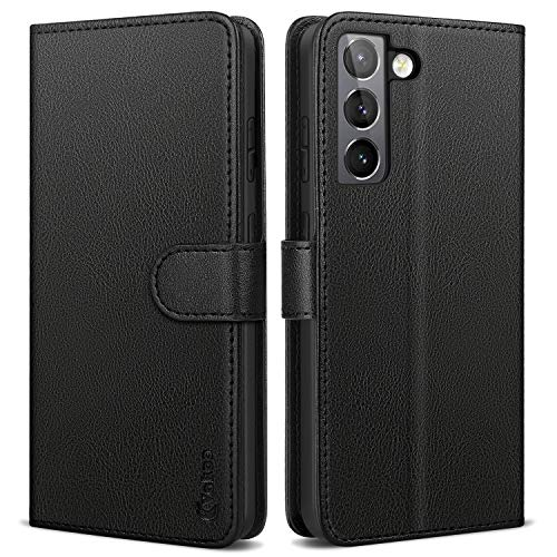Vakoo Serie Wallet Cover Compatibile con Samsung Galaxy S21, con RFID Blocking (Nero)