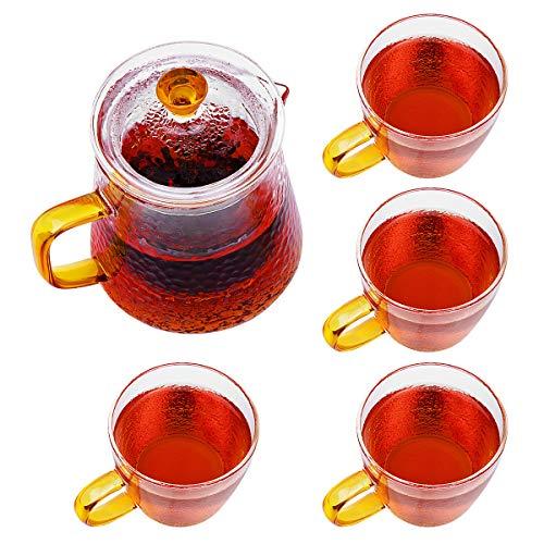ANSUG Juego de teteras y Tazas de Vidrio, 450ml Tetera de Cristal Resistente al Calor Tetera De Té De Flores con infusor extraíble y Taza de té de 4 Piezas para té Flojo Té de Flores